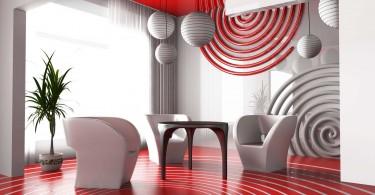 Interior decoration in red-01