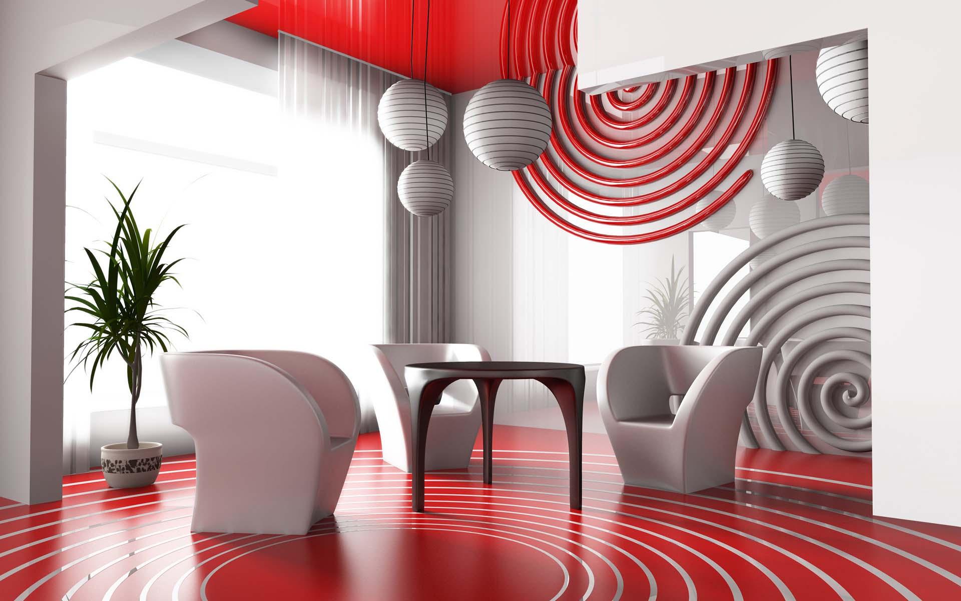 Красное напольное покрытие в интерьере