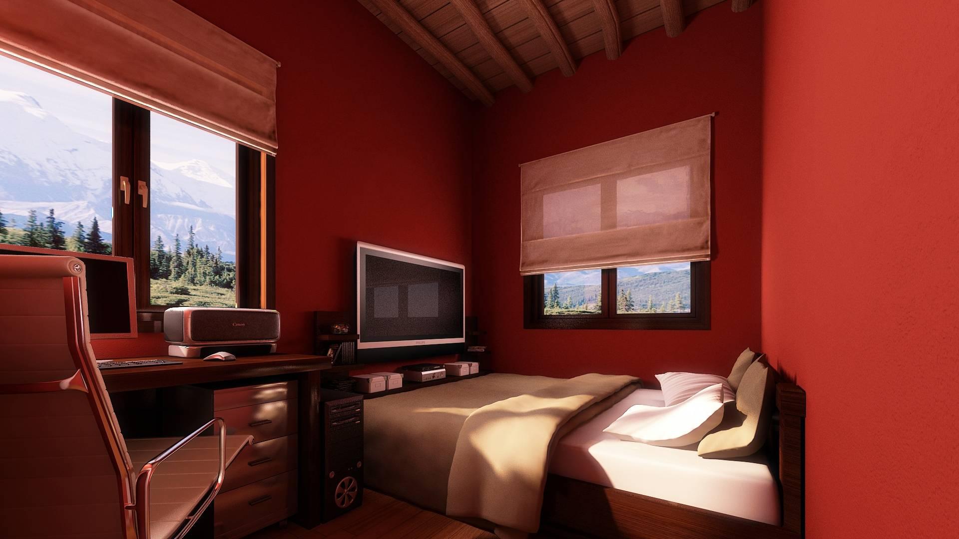 Красные стены в спальной комнате