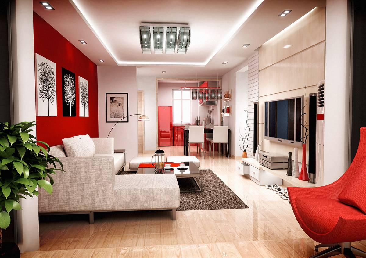 Красные акценты в гостиной