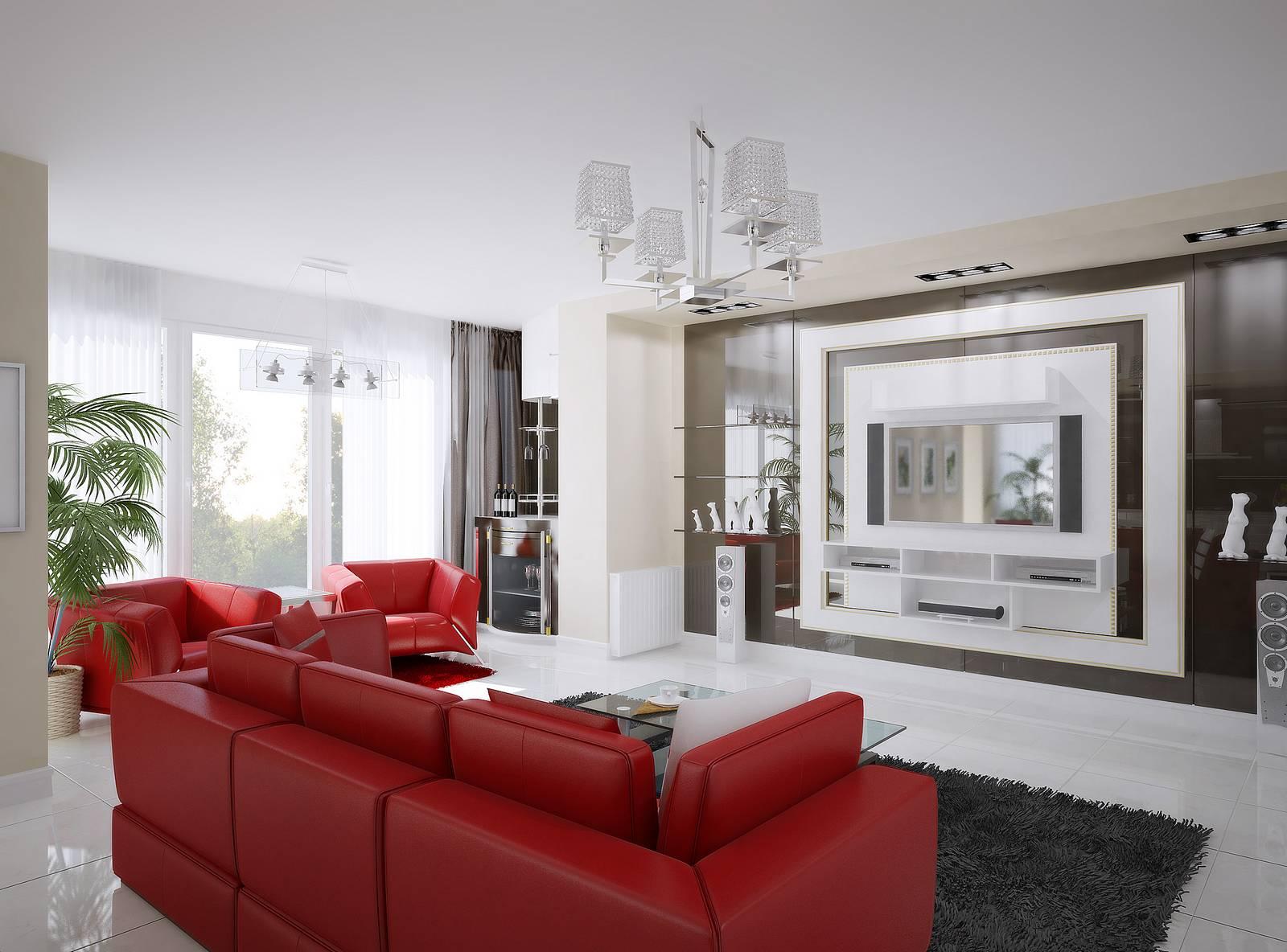 Красная кожаная мебель в интерьере