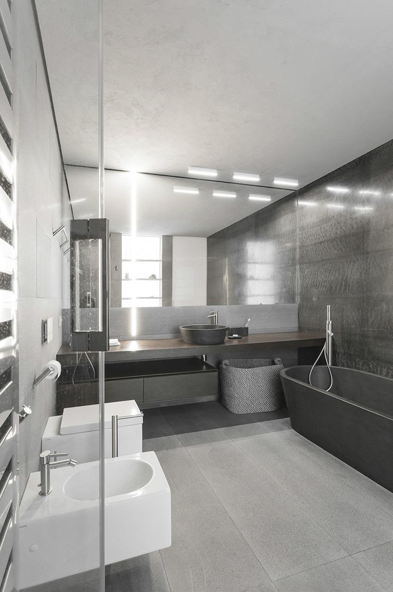 Серый цвет в ванной в квартире