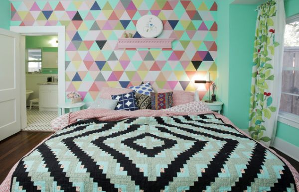 Геометрические узоры в спальне