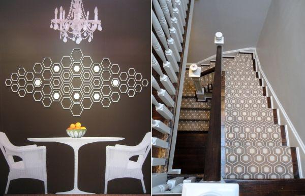 Узоры шестиугольников на стене и лестнице