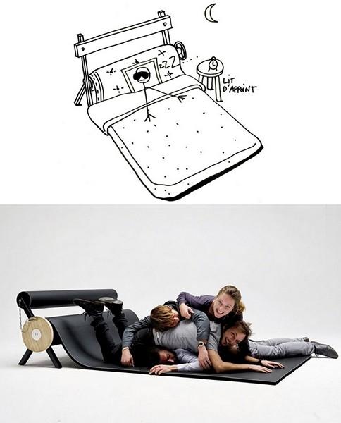 Креативный рисунок дизайнерского дивана-валика