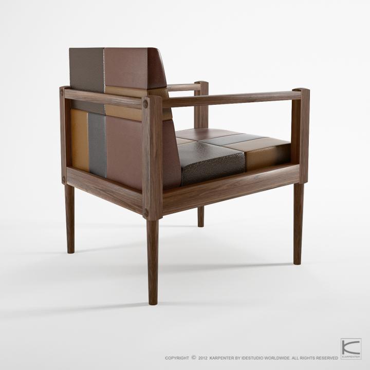 Стильный дизайн кожаного кресла Katchwork chair с деревянными подлокотниками