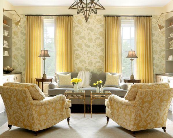 Цветочный принт в интерьере гостиной