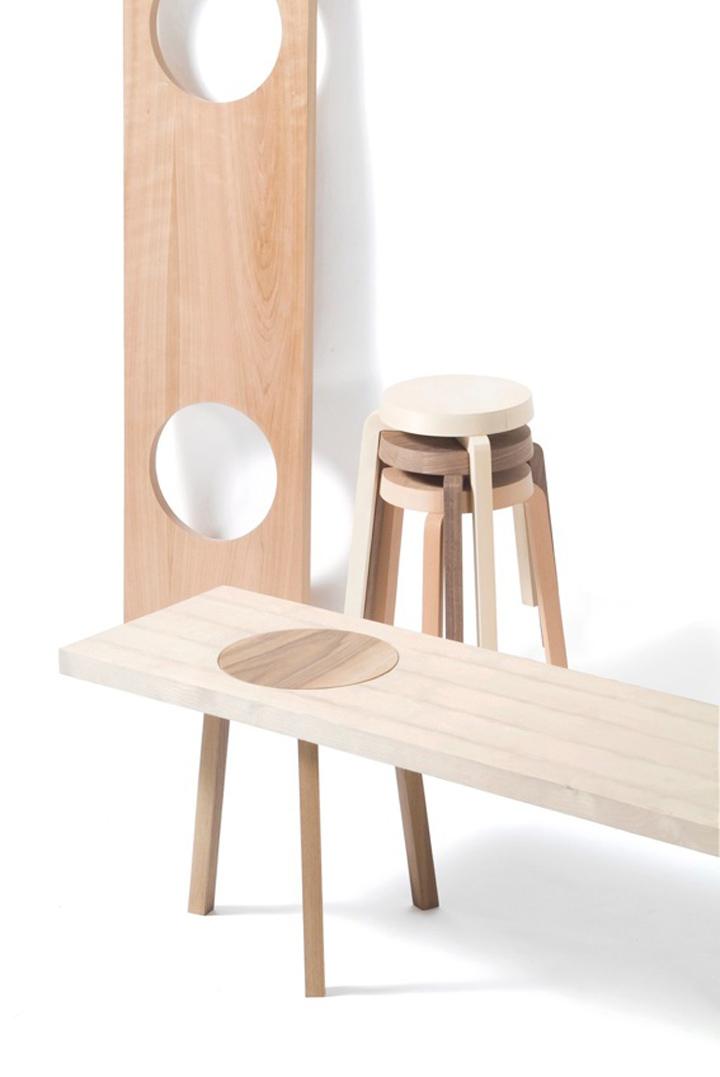Дизайнерская скамья и табуреты