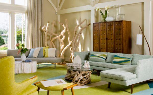 Зеленый ковер в гостиной