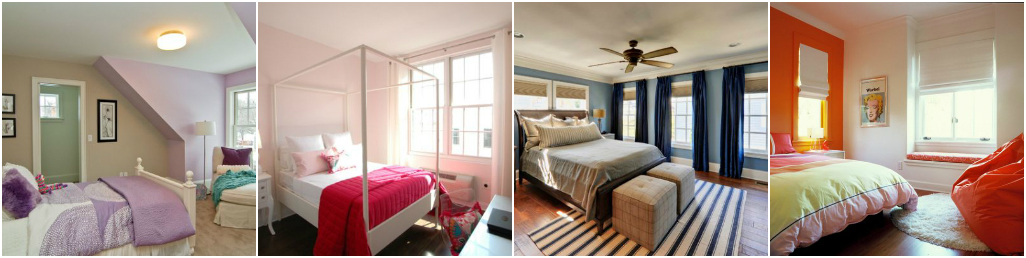 Цветное оформление спальной комнаты