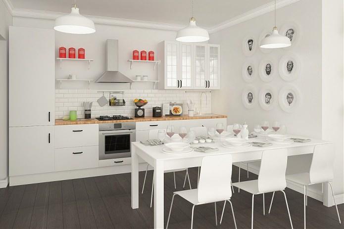 Белая столовая с кухней