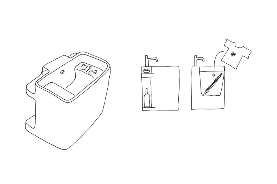 Дизайнер Маттео Рагни: варианты использования раковины Anfibio
