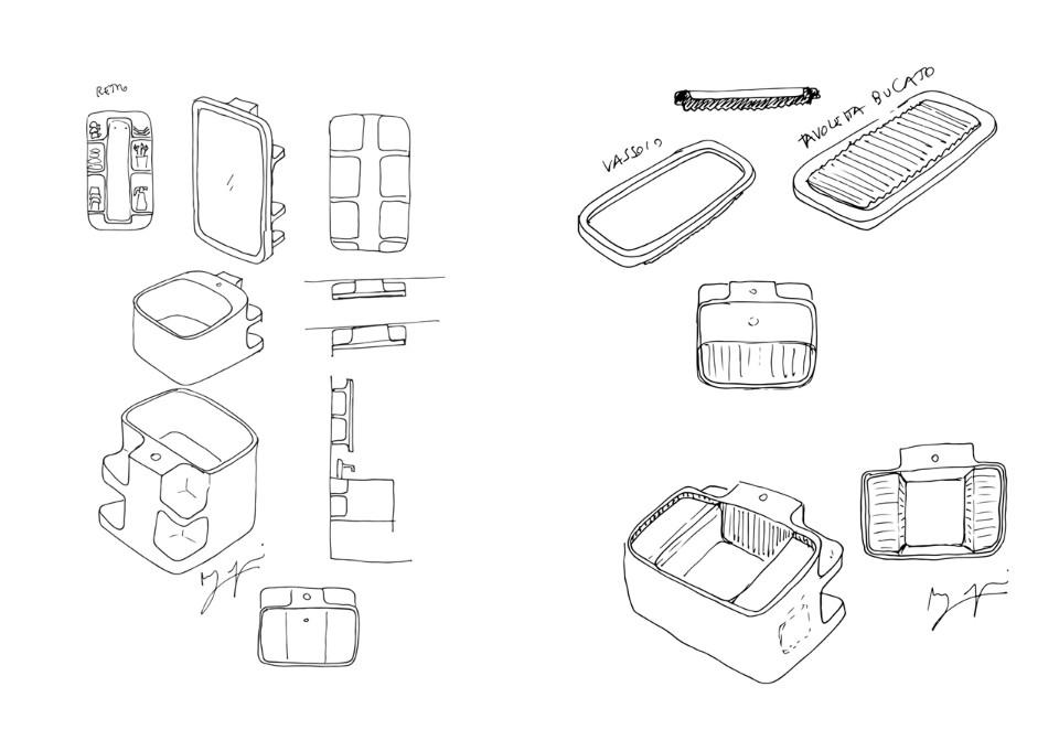 Дизайнер Маттео Рагни: подробные наброски раковины Anfibio