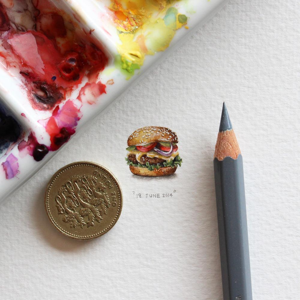 Рисунок бургера в миниатюре