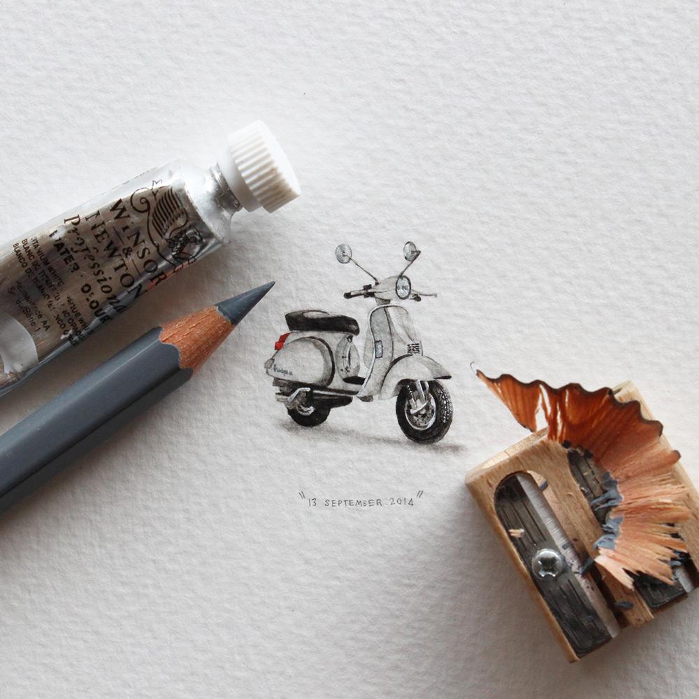 Рисунок мопеда в миниатюре