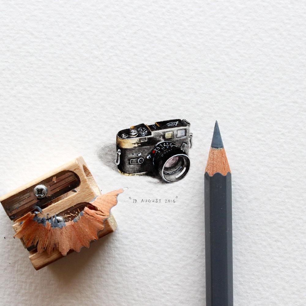 Рисунок фотоаппарата в миниатюре