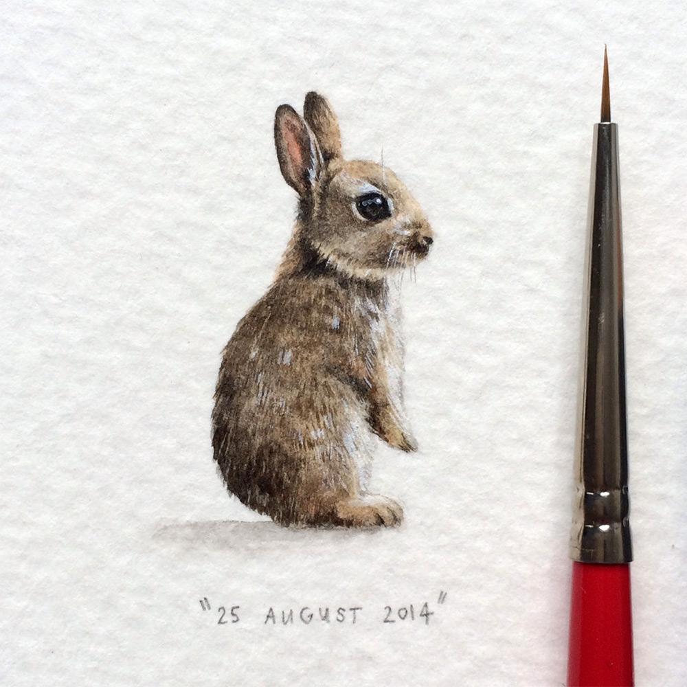 Рисунок зайца в миниатюре