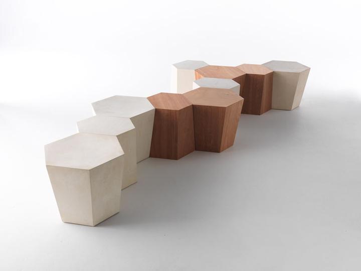Модульная скамья Hexagon от Стивена Холла