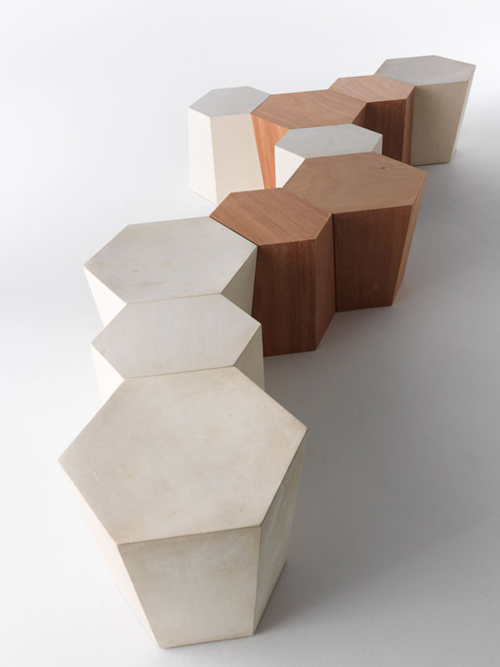 Деревянная скамейка Hexagon от Стивена Холла