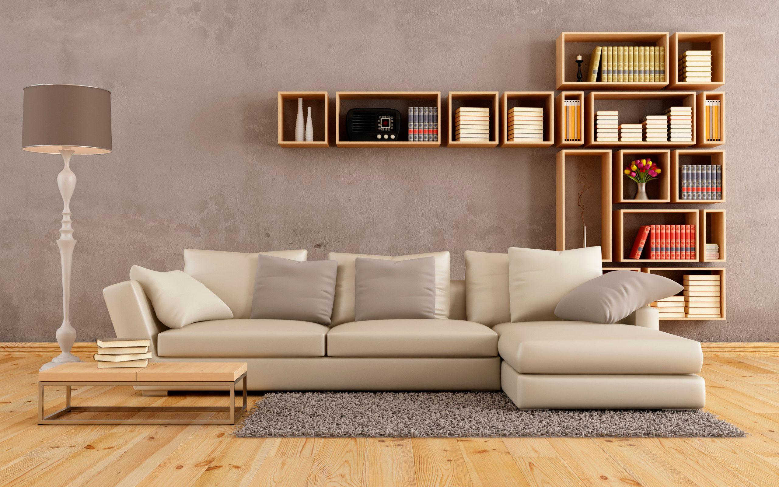 Дизайн гостиной с диваном у окна