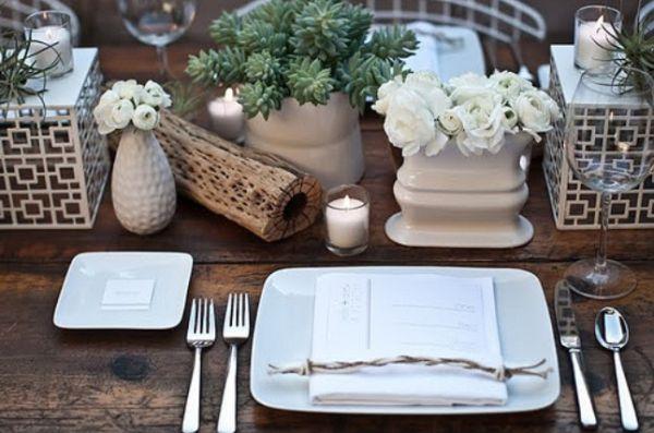 Сервировка стола ко дню Благодарения в естественных тонах