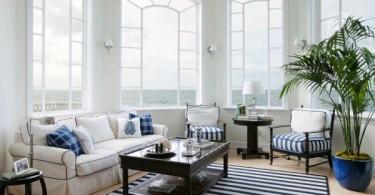 Красивое оформление помещения в морской тематике