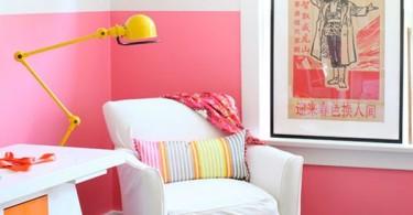 Окрас стен в розово-белый цвет