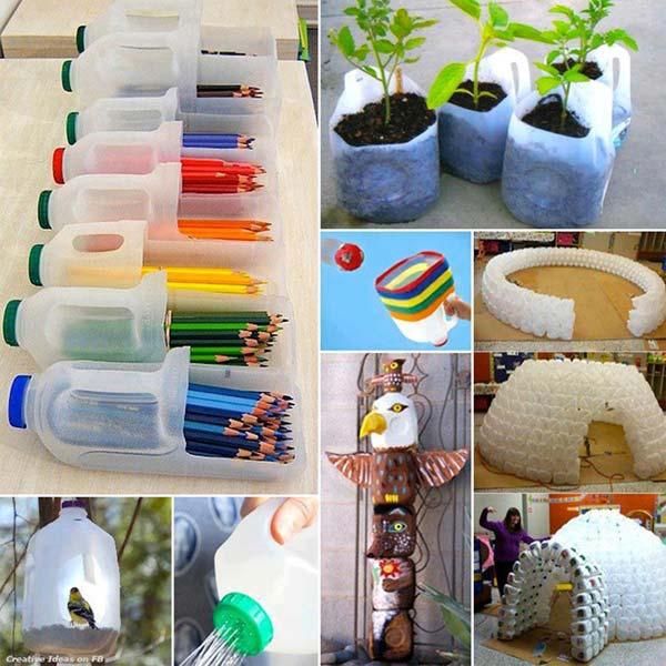 Пластиковые бутылки в качестве подставки для карандашей