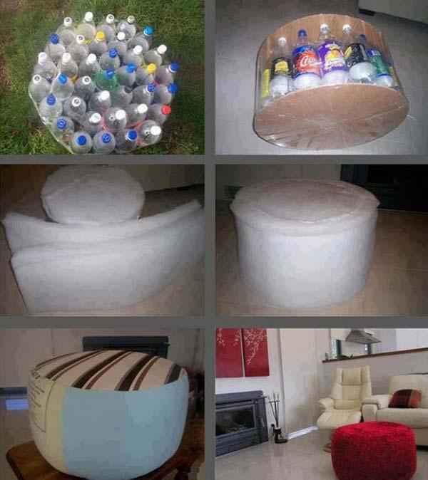 Основа пуфика из пластиковых бутылок