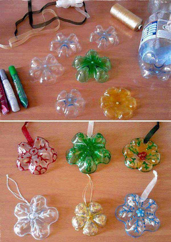 Елочное украшение из пластиковых бутылок