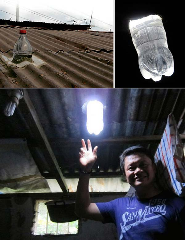 Солнечная лампа из пластиковых бутылок