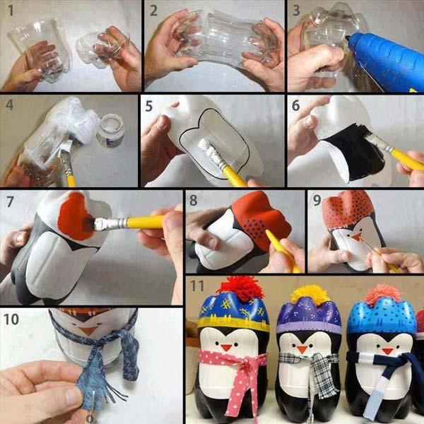 Маленький пингвин из пластиковых бутылок