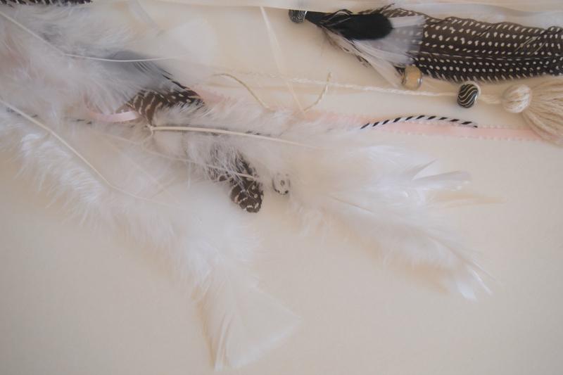 Бусины и перья для украшения аксессуара