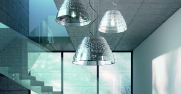 Уникальный дизайн светильников Rings collection: стеклянный плафон с кружевным рельефом
