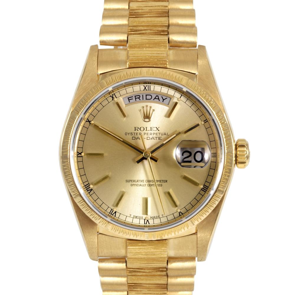 Мужские часы Day Date Presidential от Rolex с золотым циферблатом