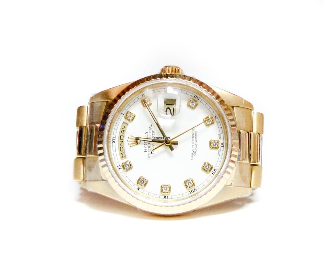 Мужские часы Day Date Presidential от Rolex с белым циферблатом
