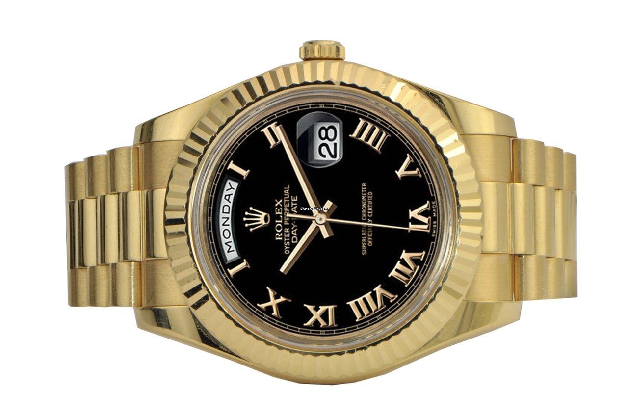 Мужские часы Day Date Presidential от Rolex с чёрным циферблатом