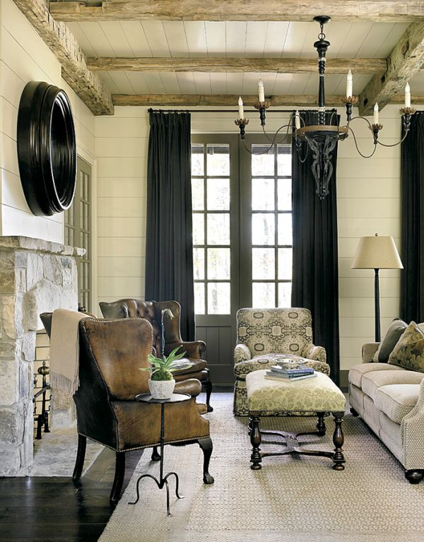 Прекрасный декор гостиной в деревенском стиле