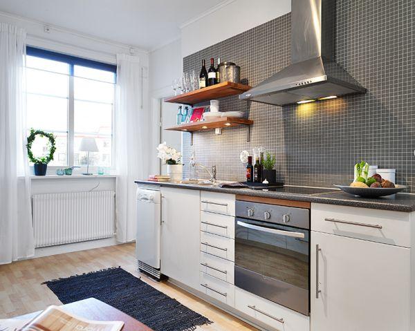 Серый фартук на кухне