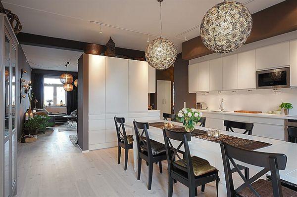 Дизайнерские светильники на кухне