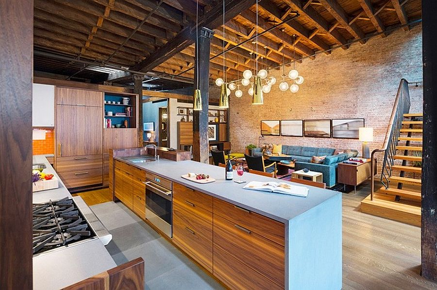 Кухонная рабочая поверхность в апартаментах Sensational NYC Loft в Нью-Йорке