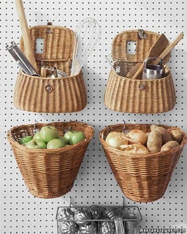 Настенное хранение кухонных приборов