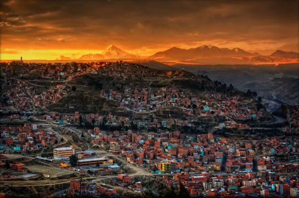 Закат над городом Ла-Пас