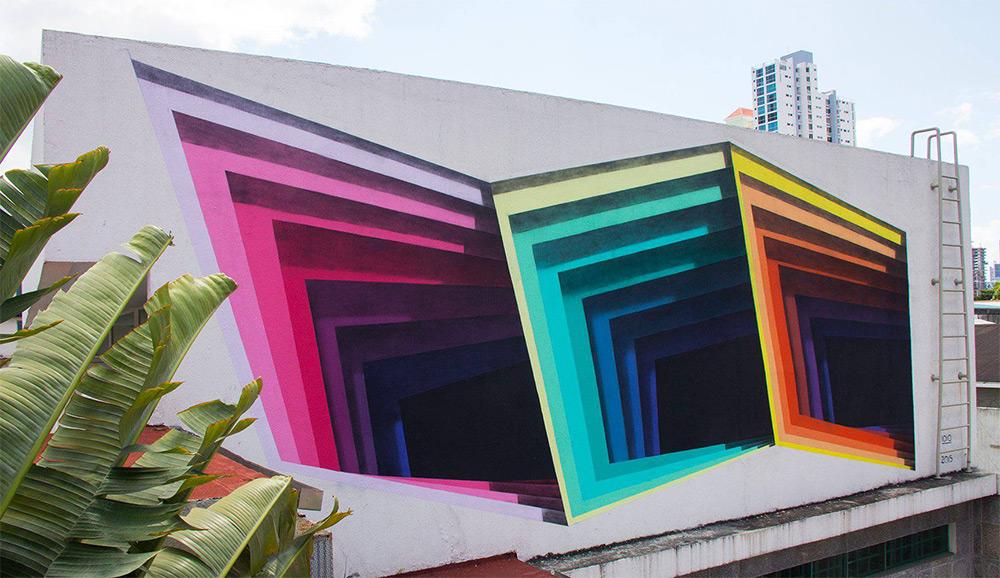 Абстрактная живопись на стене
