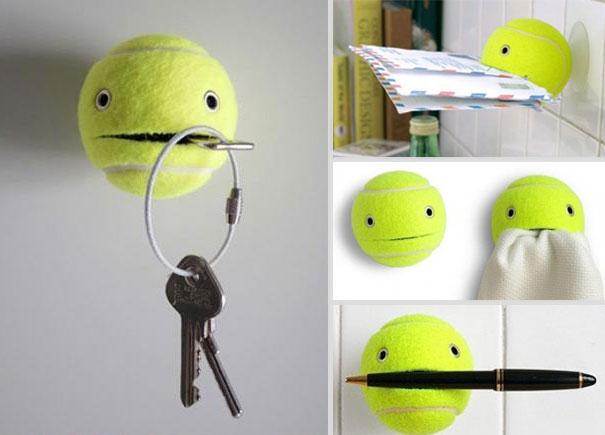 Держатель для ключей в виде мячика для большого тенниса