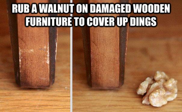 Грецкий орех в качестве натирания поверхности мебели