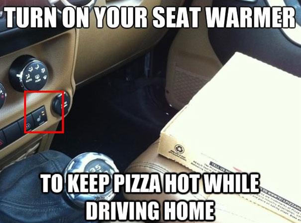 Подогрев пиццы с помощью автомобиля