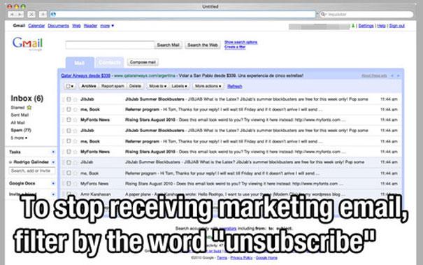 Отписка от рассылке рекламных сообщений