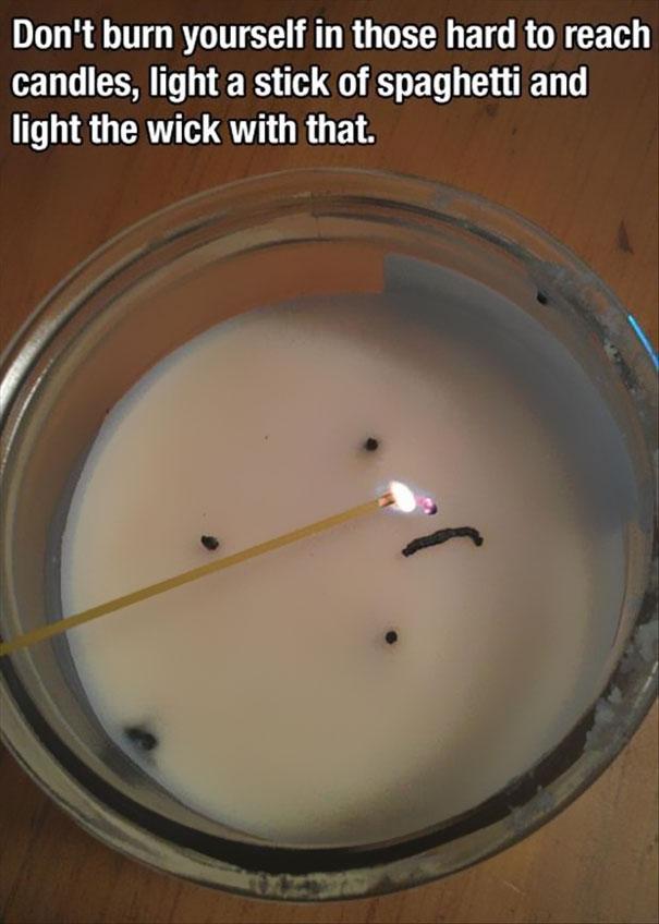 Горелая палочка спагетти для поджигания свечи