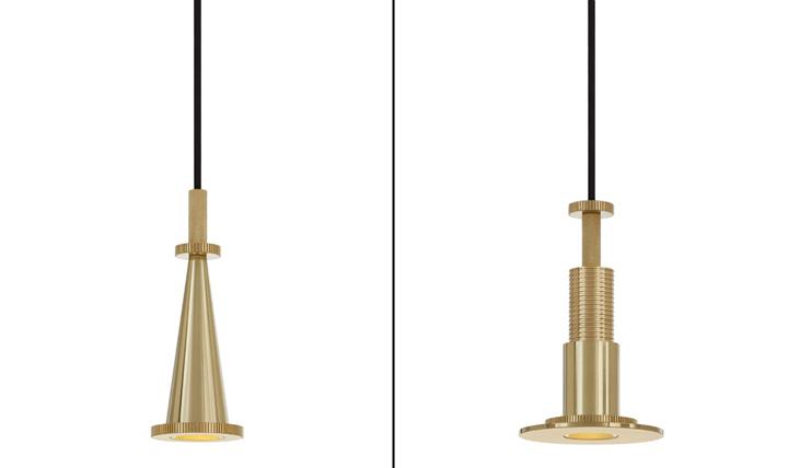 Красивые светильники в золотистом облике Cog от Тома Диксона